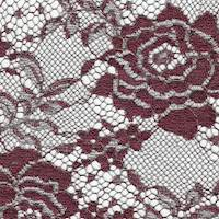 *3 1/2 YD PC--Wine Red/Black Nylon Floral Lace