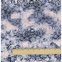 *1 3/4 YD PC--Blue/Multi Baroque Print Stretch Cotton Corduroy Twill