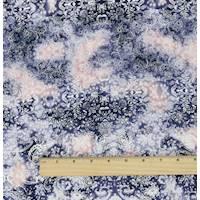 *1 3/4 YD PC--Blue/Multi Baroque Print Stretch Cotton Corduroy Twill