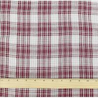 *2 YD PC--Deep Red/White Cotton Doubleweave Plaid Gauze Shirting