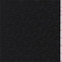 *2 YD PC--Black Vine Jacquard Knit