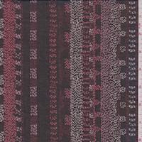 *7/8 YD PC--Black/Brick Mosaic Stripe Chiffon