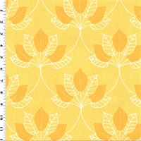 *1 YD PC--Designer Cotton Yellow Mulberry Leaf Print Home Decorating Fabric