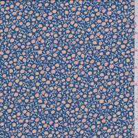 *2 3/8 YD PC--Cadet Blue Mini Floral ITY Jersey Knit