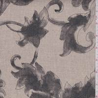 Natural/Charcoal Floral Scroll Linen