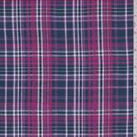 Navy/Berry Plaid Cotton