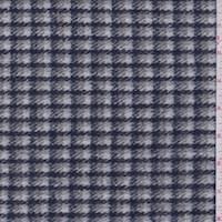 White/Navy/Grey Check Wool Blend Coating