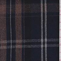 Mocha/Violet Plaid Wool Blend Coating