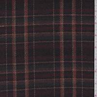 Wine Plaid Wool Blend Jacketing