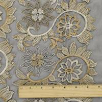 *6 5/8 YD PC--Brown/Beige/Black Floral Embroidered Mesh