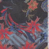 *2 5/8 YD PC--Black/Cobalt Diamond Floral Chiffon