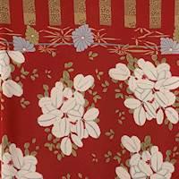 *1 PANEL--Ruby Red/Beige Large Floral Silk Georgette