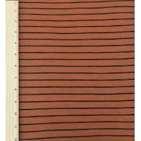*2 5/8 YD PC--Rustic Orange/Black Stripe Pique Knit