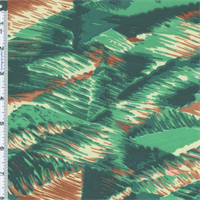 *4 3/8 YD PC--Green/Tan Abstract Waves Euro Print