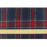 *2 3/8 YD PC--Red/Navy/Multi Brushed Plaid Dobby Coating