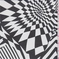 *2 YD PC--White/Black Abstract Geometric Print Chiffon