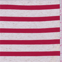 *2 YD PC--Oatmeal/Red Stripe Jersey Knit