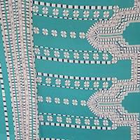 *1 PANEL--Tropic Green Tile Silk Crepe de Chine