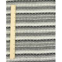 *2 3/4 YD PC--Black/Cream White Patterned Stripe Dobby