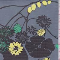 Slate Floral Print Silk Chiffon