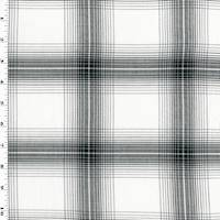 *3/4 YD PC--Optic White/Black Cotton Plaid Twill Shirting