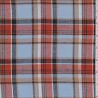 *2 3/4 YD PC--Sky Blue/Orange Plaid Flannel