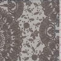 *4 YD PC--Grey/Olive Lace Print Silk Chiffon
