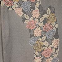*1 PANEL--Charcoal/Taupe Floral Silk Chiffon