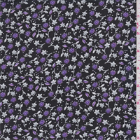 *5 YD PC--Black/Grey/Purple Mini Floral Print Chiffon