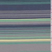 *1 YD PC--Sterling/Yellow/Slate Stripe Terry Knit