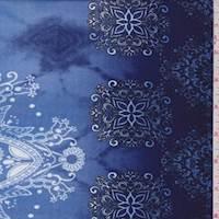 *2 1/2 YD PC--Blue/Ink Tie Dye Medallion Challis