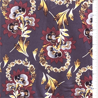 *2 5/8 YD PC--Plum Stylized Floral Jersey Knit