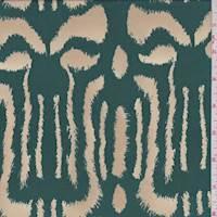 *2 YD PC--Emerald/Buff Animal Print Silk Georgette