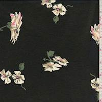 Black Dogwood Floral Rayon Chiffon