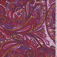 *1 YD PC--Magenta/Red Paisley Rayon Challis