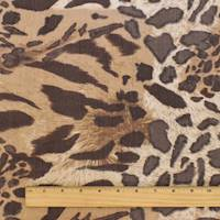 *3 YD PC--Brown/Beige Cheetah Print Crinkle Chiffon
