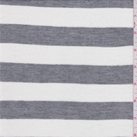 *3 YD PC--White/Grey Stripe Rayon Jersey Knit