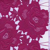 *1 5/8 YD PC--Sangria Red Peony Guipure Lace