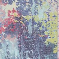 *5 1/4 YD PC--Blue Frost Multi Tapestry Print Silk Chiffon