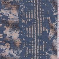 *4 5/8 YD PC--Beige/Teal Wicker Stripe Silk Chiffon