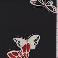 *2 3/4 YD PC--Black Butterfly Silk Georgette