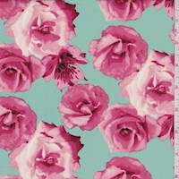 *2 YD PC--Mint/Blush Rose Floral Poplin