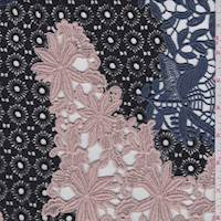 *2 1/4 YD PC--Black/Blush/Blue Novelty Guipure Lace