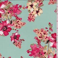 *3 1/4 YD PC--Seafoam/Coral Red Floral Rayon Challis