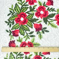 *2 1/2 YD PC--Red/White/Multi Floral Embroidered Lace