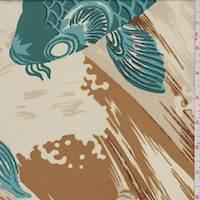 *1 YD PC--Ecru/Jade Koi Print Silk Georgette
