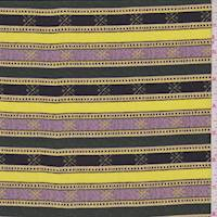 *4 YD PC--Pink/Lemon/Hunter Stripe Silk Crepe de Chine
