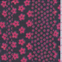 *3 1/8 YD PC--Black/Cherry Floral Stripe Chiffon