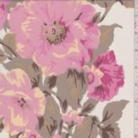 Ecru/Pink Floral Crepe Georgette