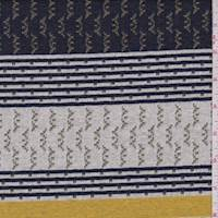 Off White/Navy/Gold Stripe Double Knit